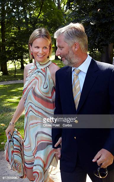 Prince Philippe and Princess Mathilde pictured at the special event to celebrate the wedding birthdays of several members of the Belgian Royal...
