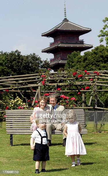 Prince Philippe and Princess Mathilde pose with their children Princess Elisabeth and Prince Gabriel in front of the Japanese Tower during a photo...