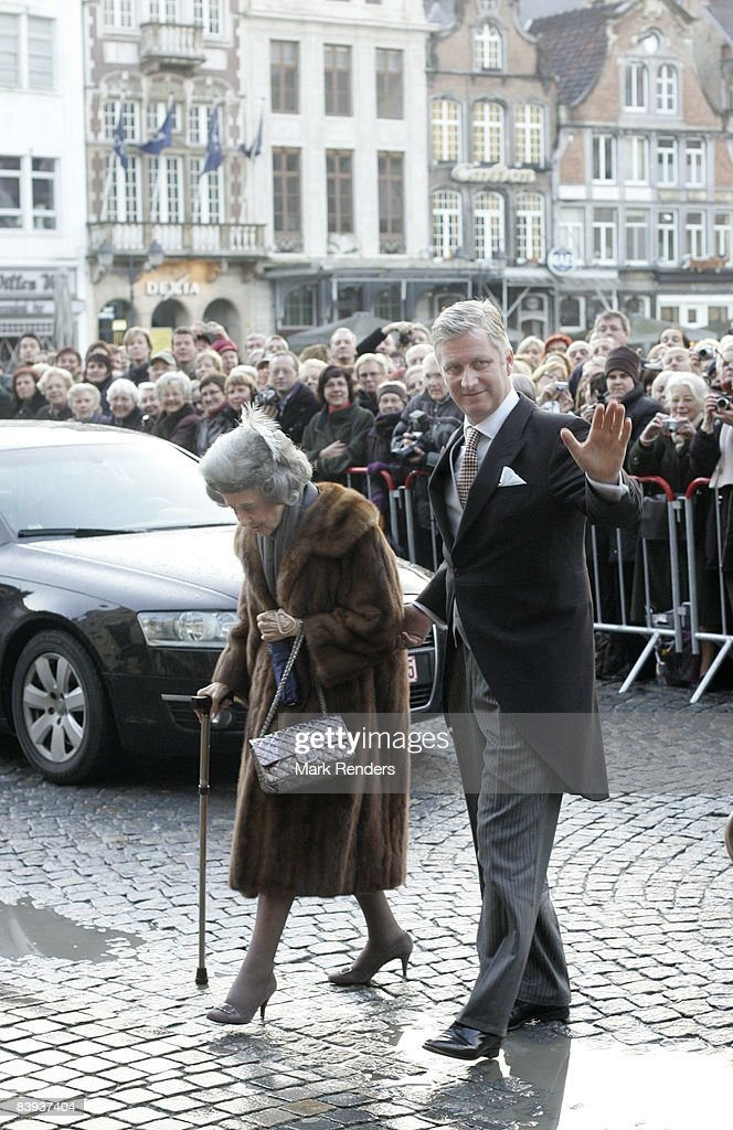 Prince Philippe and Queen Fabiola of Belgium arrive at Saint Rombouts Cathedral to attend the wedding of Archduchess Marie-Christine of Austria and Count Rodolphe of Limburg-Stirum on December 06 2008 in Mechelen, Belgium.