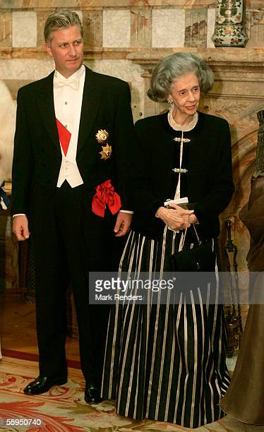 Prince Philippe and Queen Fabiola pose before the gala dinner at Laeken Castle October 18 2005 in Brussels Belgium Portuguese President Jorge Sampaio...