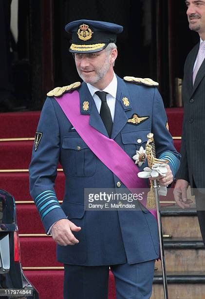 Prince Philippe, Duke of Brabant is seen leaving the Hotol de Paris to attend the religious ceremony of the Royal Wedding of Prince Albert II of...