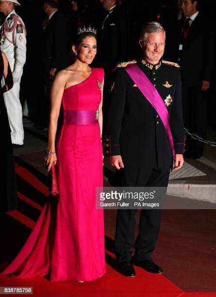 Prince Philippe Duke of Brabant Prince of Belgium and Princess Mathilde arriving for the official dinner for Prince Albert II of Monaco and Charlene...