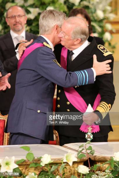 Prince Philippe of Belgium and father King Albert II of Belgium seen at the Abdication Ceremony Of King Albert II Of Belgium, & Inauguration Of King...