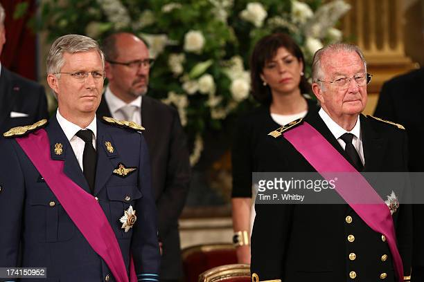 Prince Philippe of Belgium and King Albert II of Belgium seen inside after the Abdication Ceremony Of King Albert II Of Belgium Inauguration Of King...