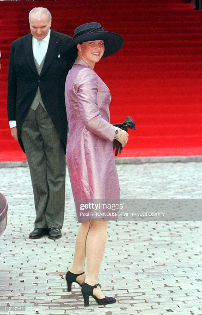 Prince Philippe of Belgium and Mathilde d'Udekem wedding in Brussels, Belgium on December 13, 1999 - Martha – Louise of Norway. At the city hall.