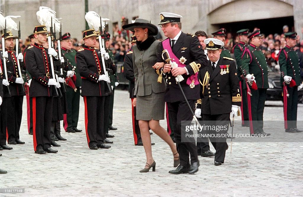 Prince Philippe of Belgium and Mathilde d'Udekem wedding in Brussels, Belgium on December 13, 1999 - Laurent of Belgium with Mathilde's sister at the City Hall.