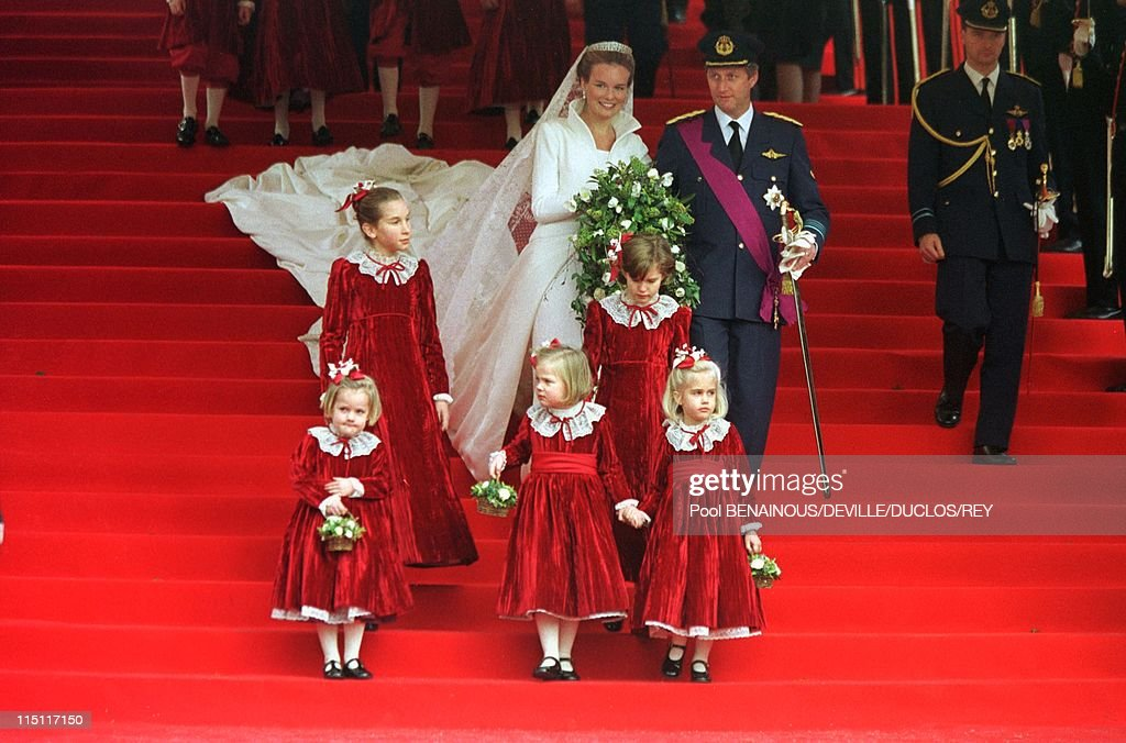 Prince Philippe of Belgium and Mathilde d'Udekem wedding in Brussels, Belgium on December 13, 1999 - At the City Hall.