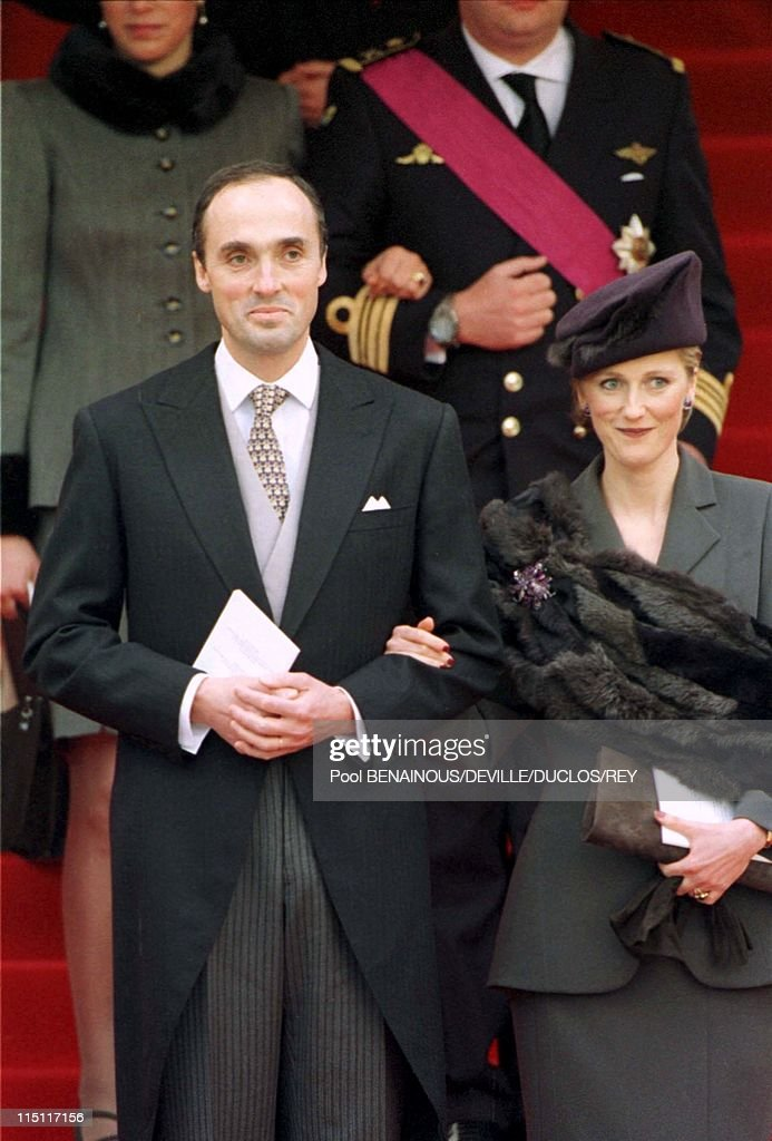 Prince Philippe of Belgium and Mathilde d'Udekem wedding in Brussels, Belgium on December 13, 1999 - Princess Astrid of Belgium with her husband Lorenz at the City Hall.