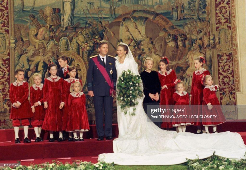 Prince Philippe of Belgium and Mathilde d'Udekem wedding in Brussels, Belgium on December 13, 1999.