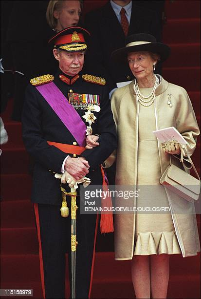 Prince Philippe of Belgium and Mathilde d'Udekem wedding in Brussels, Belgium on December 13, 1999 - Grand Duke Jean and Josephine-Charlotte.