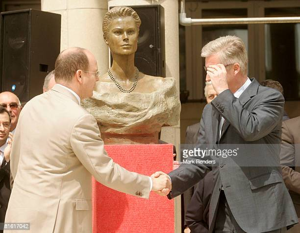Prince Philippe of Belgium and Prince Albert of Monaco attend the inauguration of a statue of Princess Grace Kelly the mother of Prince Albert of...