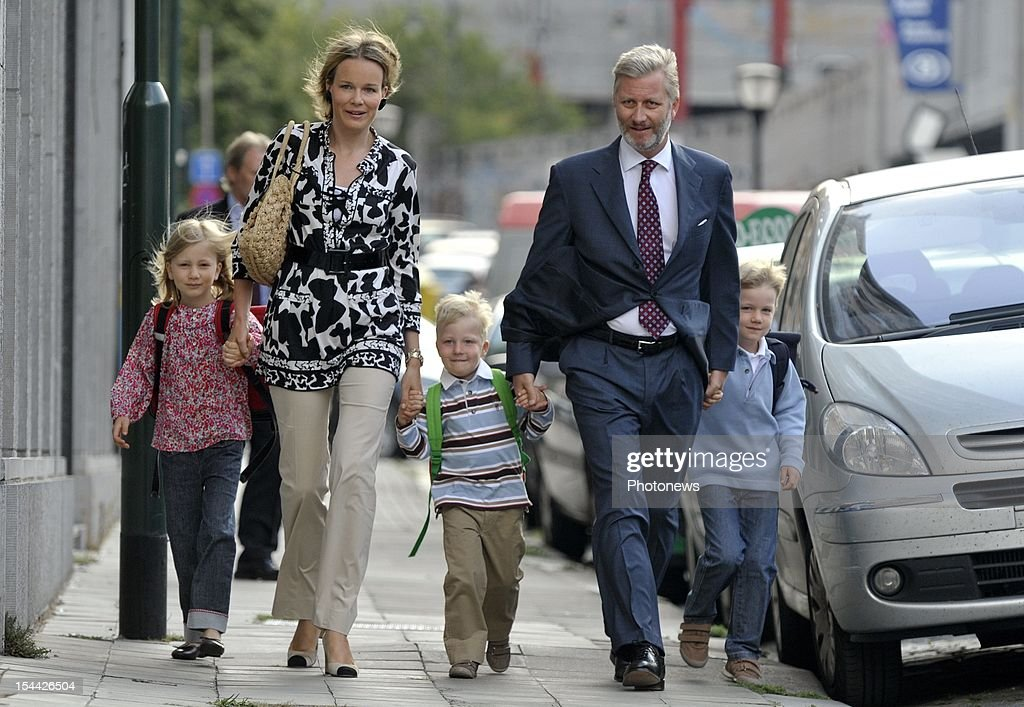 Prince Philippe of Belgium and Princess Mathilde bring their children, Princess Elisabeth, Prince Gabriel and Prince Emmanuel back to school.