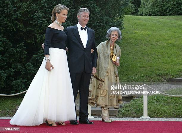 Prince Philippe of Belgium and Princess Mathilde of Belgium and Queen Fabiola of Belgium arrive at the castle of Berg to attend a special dinner and...