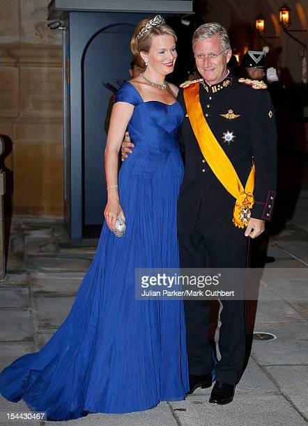 Prince Philippe of Belgium and Princess Mathilde of Belgium attend the Gala dinner for the wedding of Prince Guillaume Of Luxembourg and Stephanie de...