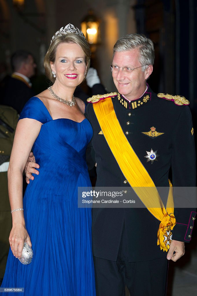 Prince Philippe of Belgium and Princess Mathilde of Belgium attend the Gala dinner for the wedding of Prince Guillaume of Luxembourg and Stephanie de Lannoy at the Grand-ducal Palace, in Luxembourg.