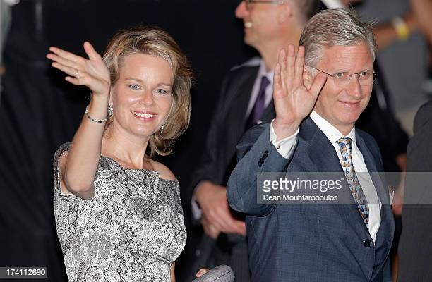Prince Philippe of Belgium and Princess Mathilde of Belgium depart after the 'Bal National' Held Ahead Of Belgium Abdication Coronation on July 20...