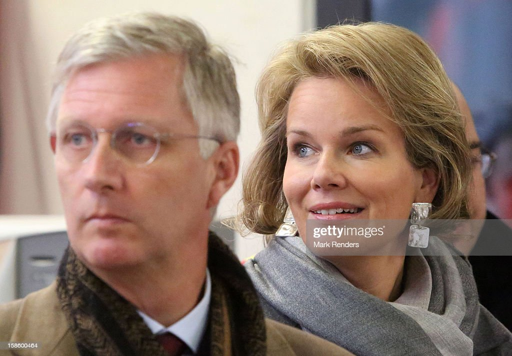 Prince Philippe of Belgium and Princess Mathilde (R) of Belgium visit the Jodoigne Fire Department on December 20, 2012 in Jodoigne, Belgium.