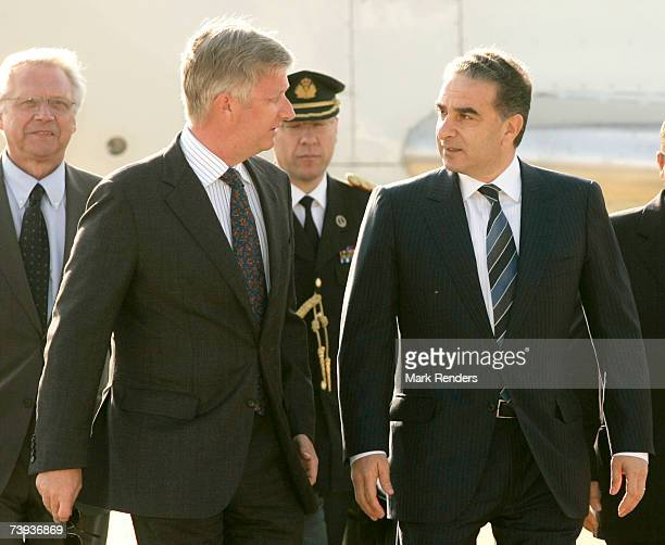 Prince Philippe of Belgium arrives at Beirut International Airport and is welcomed by Lebanese Minister of State Michel Pharaon April 19, 2007 in...