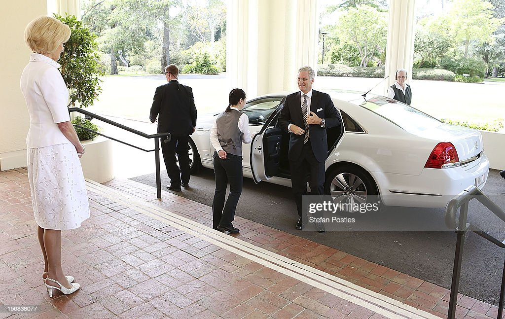 Prince Philippe of Belgium arrives at Government House and is greeted by Ms Quentin Bryce, Governor-General of the Commonwealth of Australia, on November 23, 2012 in Canberra, Australia. Prince Philippe is on a ten-day tour of Australia that will take him to Perth, Sydney, Canberra and Melbourne.