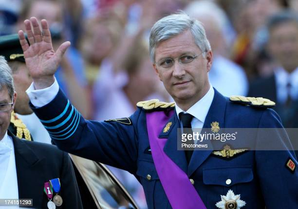 Prince Philippe of Belgium arrives at the Abdication Of King Albert II Of Belgium Inauguration Of King Philippe at the Cathedral of St Michael and St...