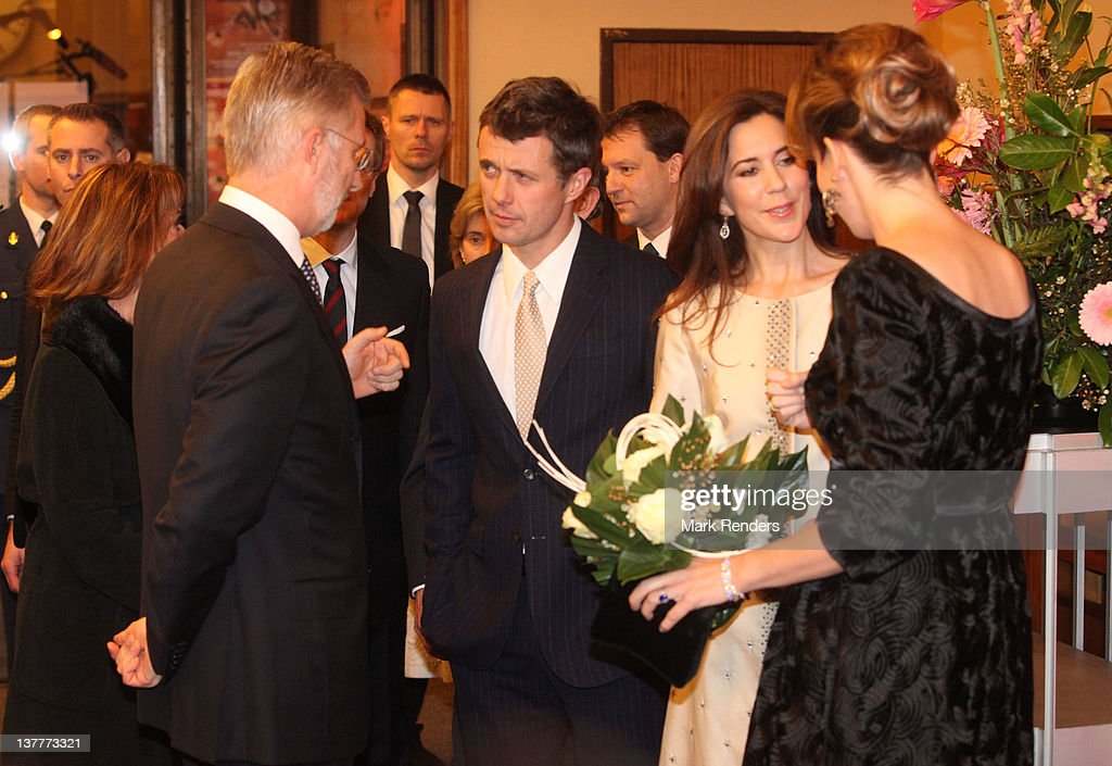 Prince Philippe of Belgium, Crown Prince Frederik of Denmark, Princess Mary of Denmark and Princess Mathilde of Belgium attend a concert for Danish EU Presidency celebration at Flagey on January 26, 2012 in Brussel, Belgium.