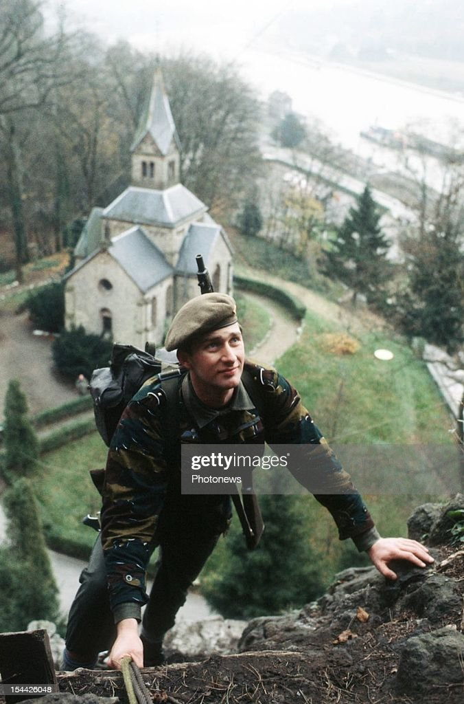 Prince Philippe of Belgium during a para commando training.