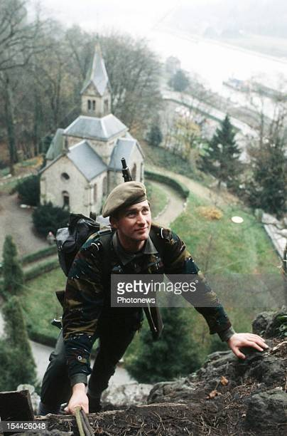 Prince Philippe of Belgium during a para commando training