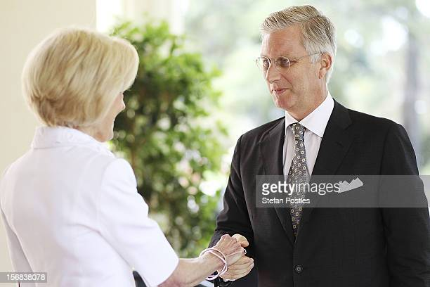 Prince Philippe of Belgium greets Ms Quentin Bryce GovernorGeneral of the Commonwealth of Australia on arrival at Government House on November 23...
