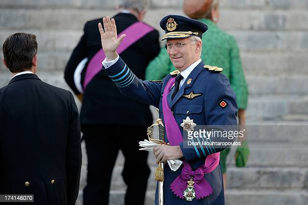 Prince Philippe of Belgium is seen in front of the Cathedral of St Michael and Saint Gudula prior to the Abdication Of King Albert II Of Belgium...