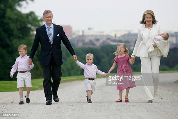 Prince Philippe of Belgium Princess Mathilde of Belgium and their 4 children at the Royal Castle on June 17 2008 in LaekenBelgium
