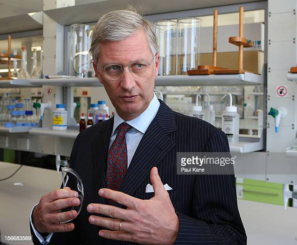 Prince Philippe of Belgium tours the Chemistry and Resources facility at Curtin University on November 19, 2012 in Perth, Australia. Prince Philippe...