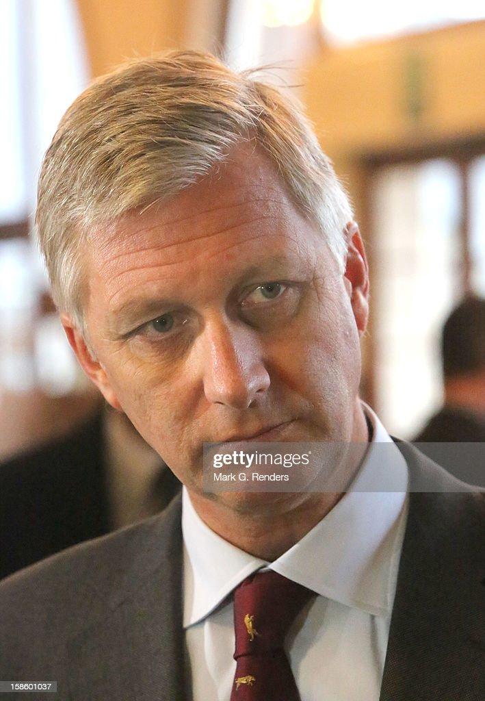 Prince Philippe of Belgium visits the CEPES School on December 20, 2012 in Jodoigne, Belgium.
