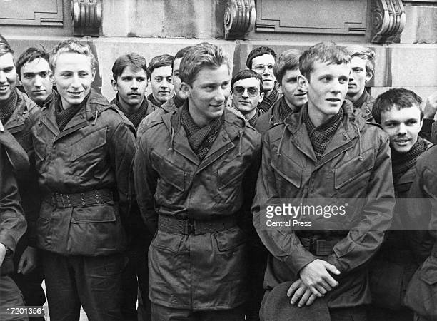 Prince Philippe of Belgium with fellow pupils of the Belgium Royal Military School pose for a photo before setting off for the training camp near the...