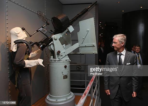 Prince Philippe of Belguim views war displays at the Auckland War Memorial Museum on November 28 2012 in Auckland New Zealand Prince Philippe is on a...