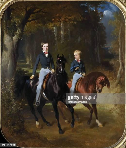 Prince Philippe of Orléans , Comte de Paris and his Brother, Robert d'Orleans , Duc de Chartres in the Par, 1849. Found in the Collection of Musée de...