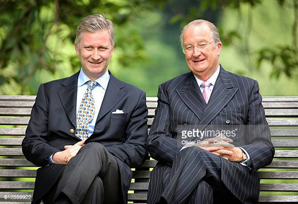 Prince Philippe pictured with his father King Albert II of Belgium during a photo session with the members of the Royal family at the Royal castle in...