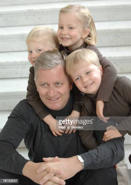 Prince Philippe, Prince Gabriel, Prince Emmanuel and Princess Elisabeth of the Belgian Royal Family poses for a photo at Laeken Castle on January 03,...
