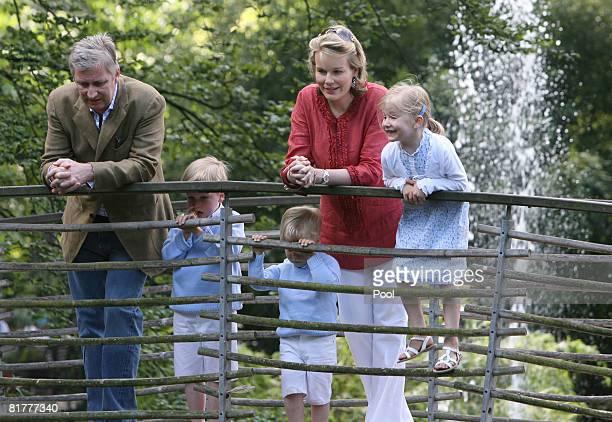 Prince Philippe Prince Gabriel Prince Emmanuel Princess Mathilde and Princess Elisabeth of Belgium visit the Antwerp Zoo on June 30 2008 in Brussels...