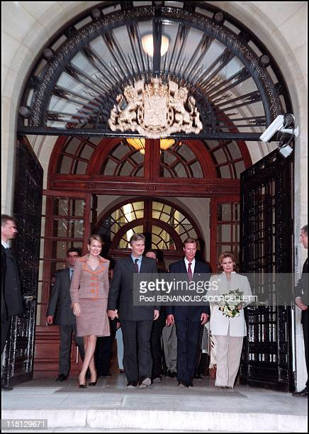 Prince Philippe princess Mathilde inaugurate the Biermans Lapotre foundation with the Grand Duke and Grand Duchess of Luxembourg in Paris France on...
