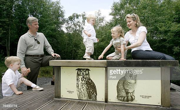 Prince Philippe Princess Mathilde of Belgium and their children Princess Elisabeth Prince Gabriel and Prince Emmanuel of Belgium walk in Park...