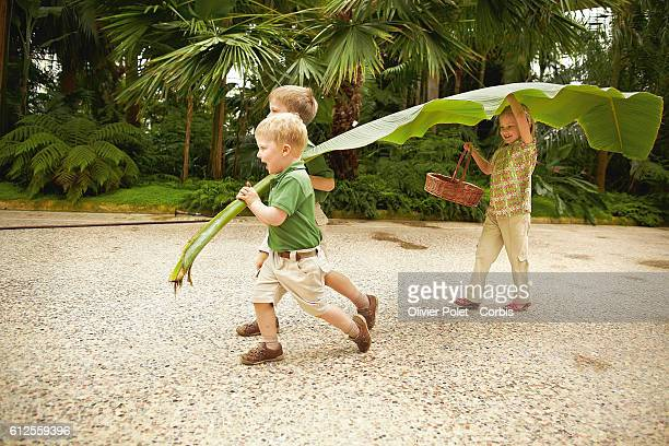Prince Philippe's three children : Emmanuel, Elisabeth, and Gabriel playing with a banana tree leaf in the winter garden at the royal castle of...