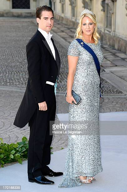 Prince Philippos of Greece and Princess Theodora of Greece attend the wedding of Princess Madeleine of Sweden and Christopher O'Neill hosted by King...