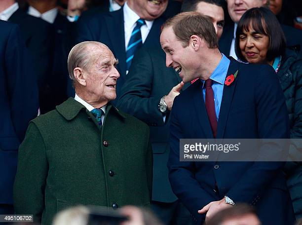 Prince Phillip and Prince William enjoy the build up to the 2015 Rugby World Cup Final match between New Zealand and Australia at Twickenham Stadium...