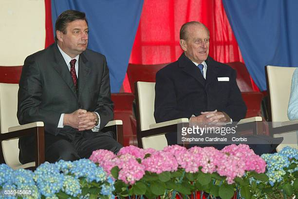 Prince Phillip attends a display at the 'Cadre Noir' National Equestrian School accompanied by the French Sports' Minister JeanFrancois Lamour The...