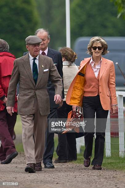 Prince Phillip Duke of Edinburgh arrives with Lady Brabourne to watch Riding for the Disabled class on the second day of the Windosr Horse Show on...