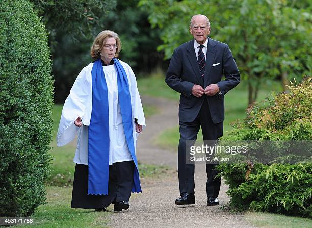 Prince Phillip Duke Of Edinburgh attends a service of commemoration at Sandringham Church on August 4 2014 in King's Lynn England Monday 4th August...