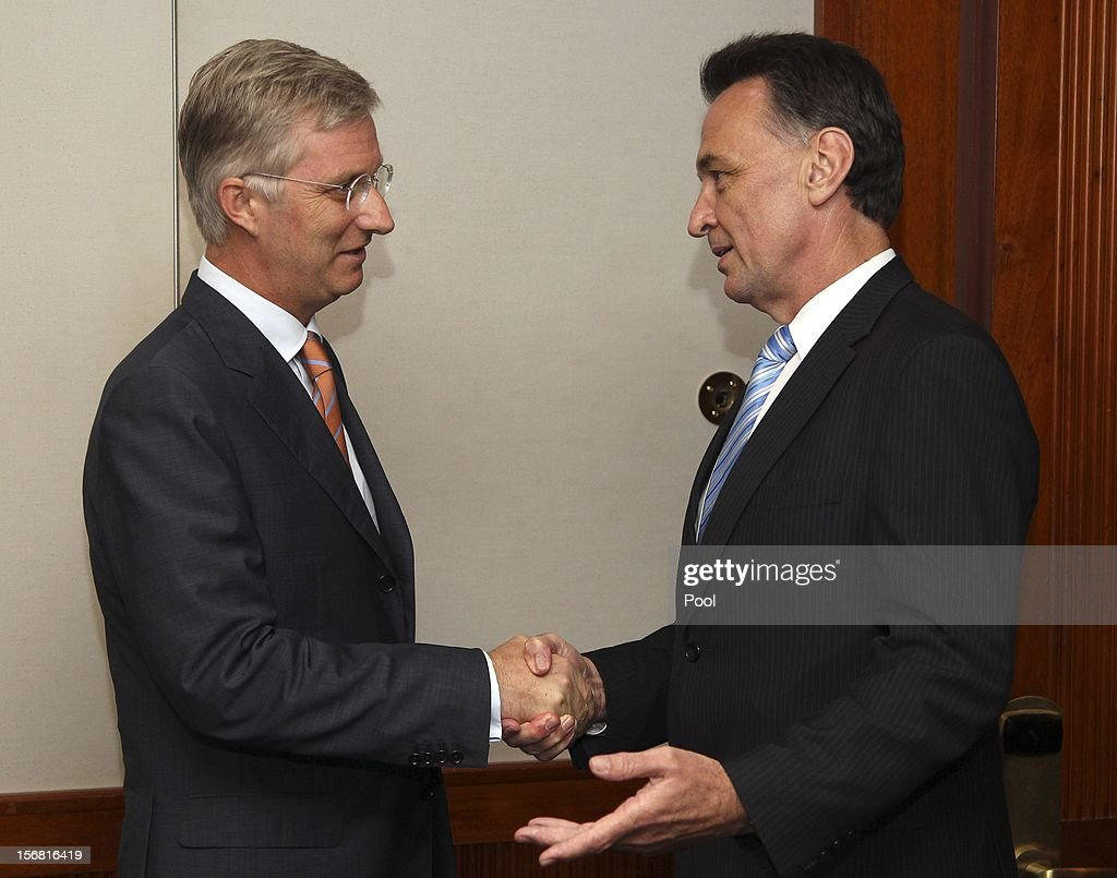 Prince Phillipe of Belgium greets Dr Craig Emerson MP, Minister for Trade and Competitiveness before a business meeting on November 22, 2012 in Sydney, Australia. Prince Philippe is on a ten-day tour of Australia that will take him to Perth, Sydney, Canberra and Melbourne.