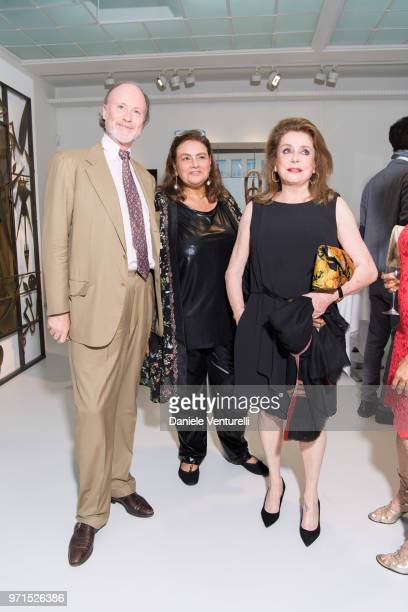 H Prince Pierre d'Arenberg Krystyna Gmurzynska and Catherine Deneuve attends Wilfredo Lam 'Nouveau Nouveau Monde' Exhibition Opening Hosted by the...