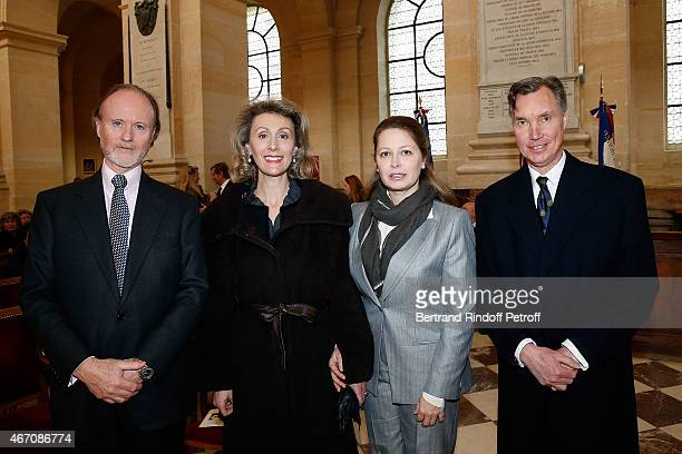 Prince Pierre d'Arenberg, Sibilla Sandra Weiller, Sylvie d'Arenberg Berggruen and Prince Guillaume of Luxembourg attend the mass given in memory of...