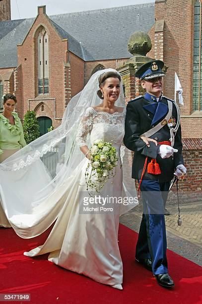 Prince Pieter Christiaan and Anita van Eijk leave the church after they got married at 'Jeroenskerk' Church on August 27 2005 in Noordwijk The...
